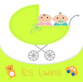 stock photo of twin baby girls  - Baby carriage - JPG
