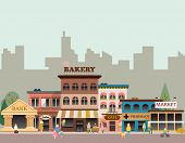 foto of architecture  - Set of buildings in the style of small business flat design - JPG