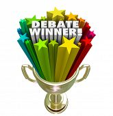 foto of debate  - Debate Winner words in colorful stars in a gold trophy - JPG