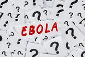 image of hemorrhage  - Closeup of question mark and an Ebola word - JPG