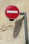 stock photo of no entry  - no entry road sign in a village in the Sarthe - JPG