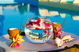 picture of fishbowl  - two glasses of coconut with orchids two seashells and rose petals in a fishbowl - JPG