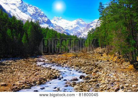 View Of The Mountains And River Into The Valley. Elbrus Area