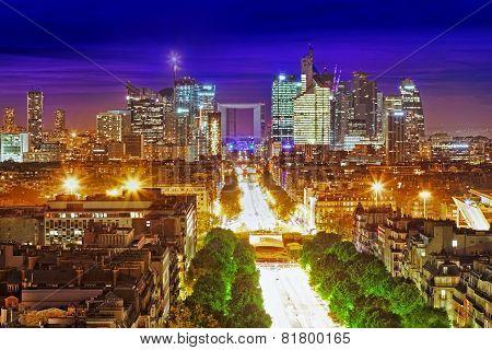 View Of Paris From The Arc De Triomphe.  Defans Area.paris. France.