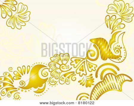 Vector illustration of abstract floral silhouette