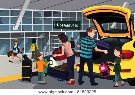 Family Traveler Outside The Airport