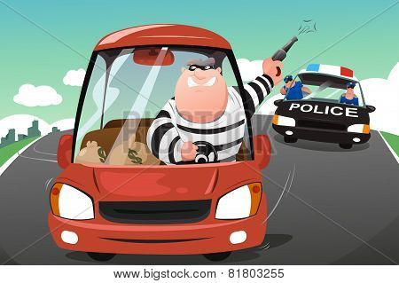 Police Chasing Criminals In A Car On The Highway