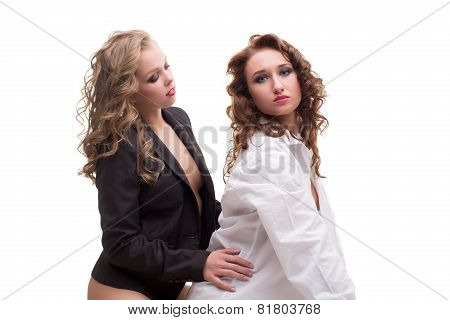 Image of charming bisexual women posing in studio