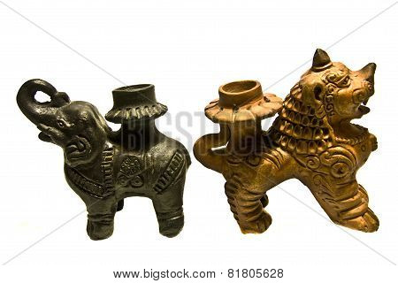 Nepal, Ceramic Candlesticks