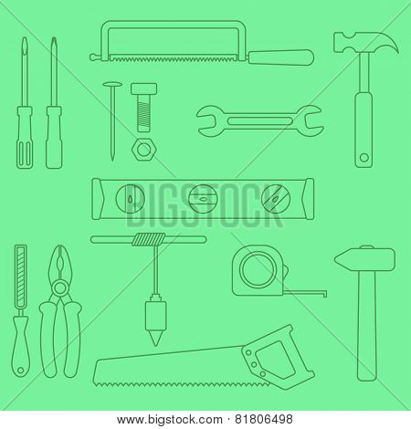set of outline hand tools on green background