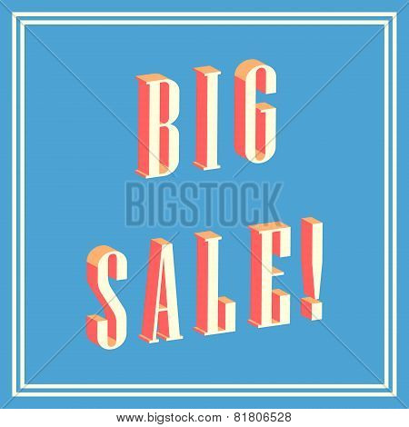 big sale 3D text on blue background
