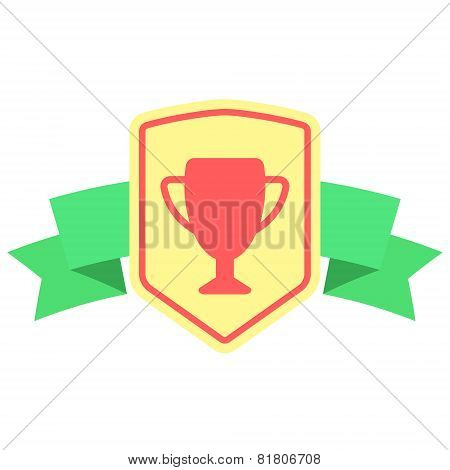 sign with prize cup and ribbon