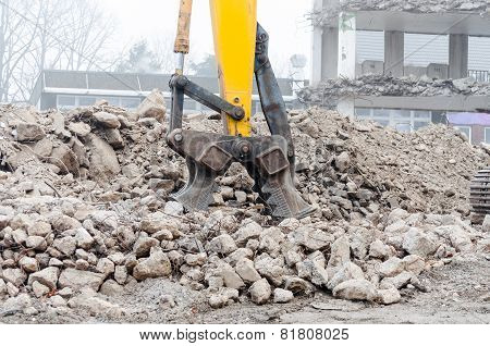 Demolition Excavator In Action