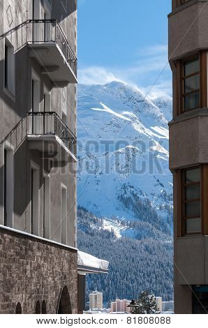 Chalet in the Alps. Mountain ski resort with snow, winter season.