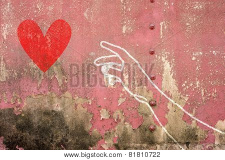 Hand And Arm Reaching For Red Heart , Hand Drawn On Brick Wall
