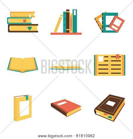 Flat isometric book icons symbols logos isolated set template for web vector illustration