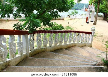 The stairs leading to the Buddhist temple