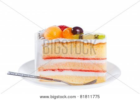 Piece Of Dilicious Cake,isolated On White Background