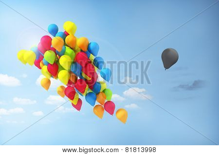 Concept Of Separations. Discrimination. One Balloon Is Separated From The Group. Incorrect Direction