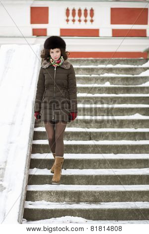 Walking Down The Stairs Woman