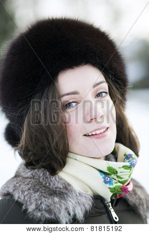 Frozen Woman On The Fresh Air
