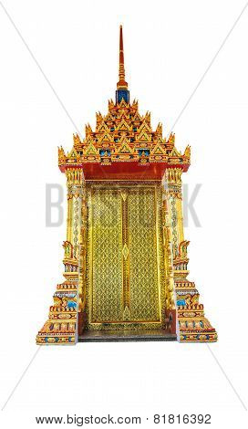Isolated Beautiful Decorated Door Of Thailand Temple