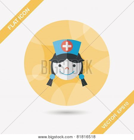 Medical Nurse Flat Icon With Long Shadow,eps10