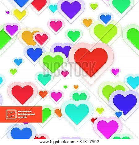 Colorful Paper Hearts Seamless Pattern. Vector