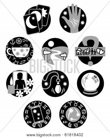 Psychic fortune teller symbols - black