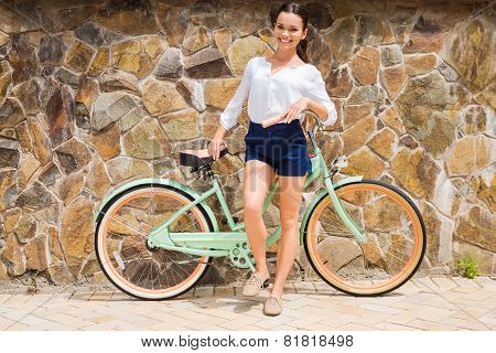 Woman With Vintage Bike.