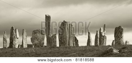 Prehistoric Site With Menhirs In Scotland. Callanish. Lewis Isle