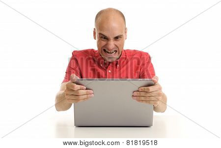 Angry Man With Laptop