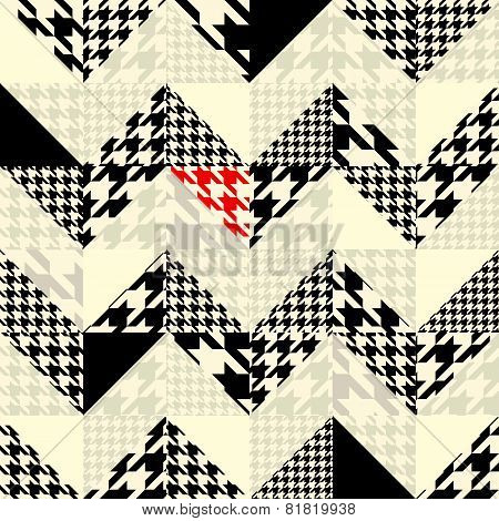 Chevron of triangles patchwork with classic houndstooth patterns