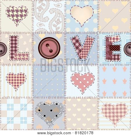 The word Love in patchwork style.