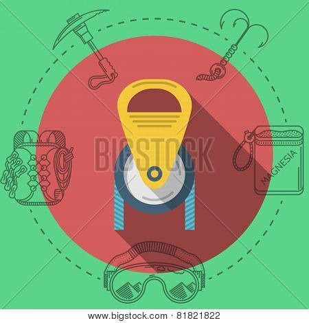 Flat design vector illustration for rock climbing. Pulley