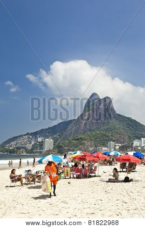 Beach life on hot sunny summer in Ipanema Rio de Janeiro Brazil portrait