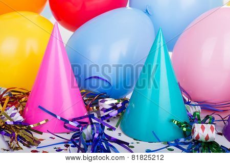 Party Hats And Balloons