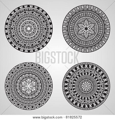 4 Vector Hand Drawn Doodle Mandalas