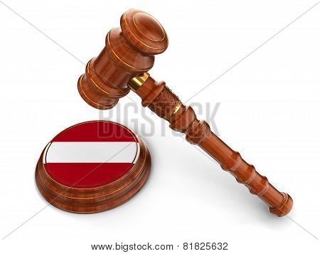 Wooden Mallet and Latvian flag (clipping path included)