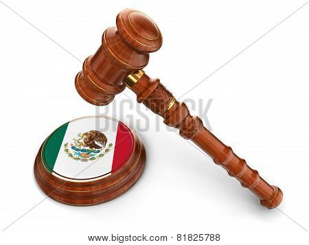 Wooden Mallet and Mexican flag (clipping path included)