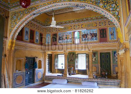 Wall paintings of the haveli, Mandawa, India.
