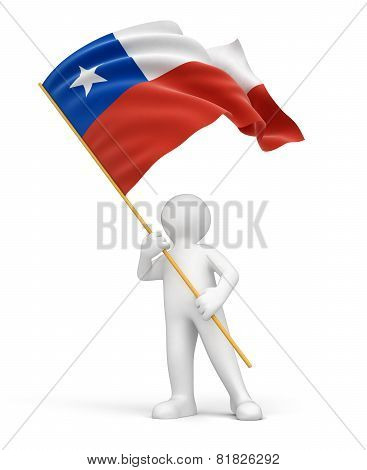 Man and Chilean flag (clipping path included)