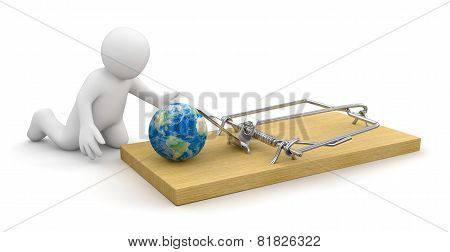 Man and Mousetrap with globe (clipping path included)