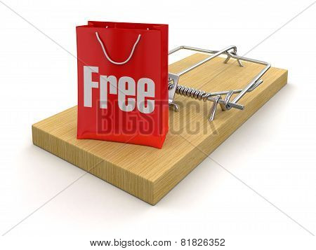 Mousetrap and bag free (clipping path included)