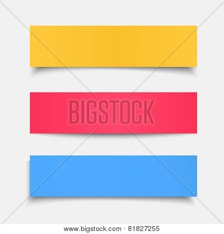 Vector set realistic colorful  paper sheet