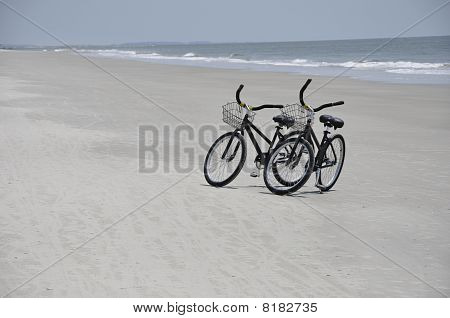 Two Bikes On Beach