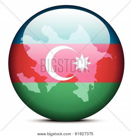 Map On Flag Button Of Republic Of Azerbaijan