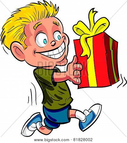 Cartoon boy running with a wrapped gift.