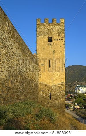 Genoese Fortress In Sudak. Tower And Fragment Of The Wall.