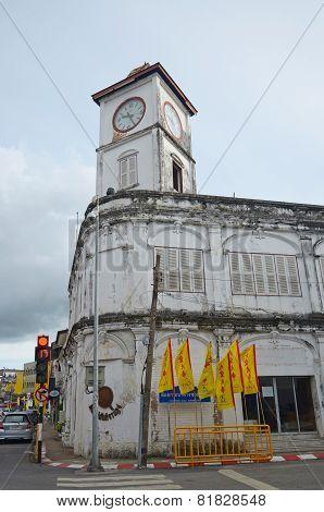 Phuket Town,TH-Sept,22 2014:Promthep Clock Tower at the old street in Phuket, Thailand